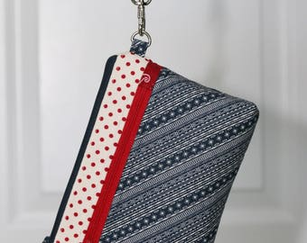 On The Go Wristlet - Patriotic, red blue, dots stripes - removable wrist strap, optional crossbody strap - inside card slots