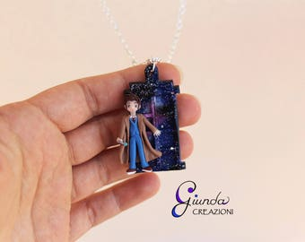 Doctor Who necklace inspired, handmade in polymer clay and resin