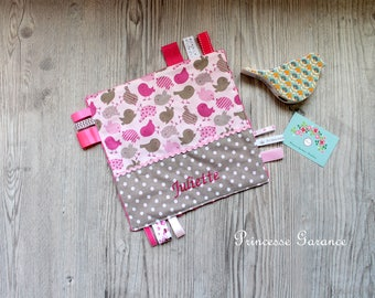 Taggy cotton birds and taupe dots - minkee hot pink