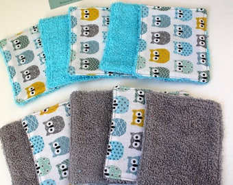 10 wipes washable, cotton, little owls, sponge, to order