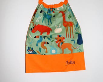 Canteen birthday * bib, napkin, canteen, with elastic at the neck, cotton animals Savannah to order