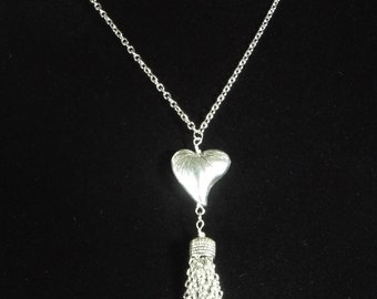 """Tassel necklace with heart pendant,  you select length 28""""to 40"""" long chain necklace ,stainless steel chain tassel necklace, cute, unique"""