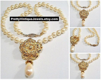 Avon Summerset Flower Pearl Necklace Choker Pendant Gold Vintage 18 or 24 Inch Scalloped Brushed White Teardrop Dangle Round 6mm Beads