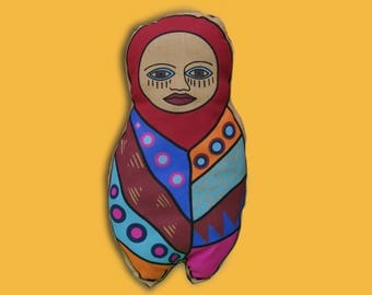 Handmade Screen Printed Stuffed Burrito Doll- Soft Pillow for nursery decor. Made in Peru by Ivana Pinto.Small size toy.