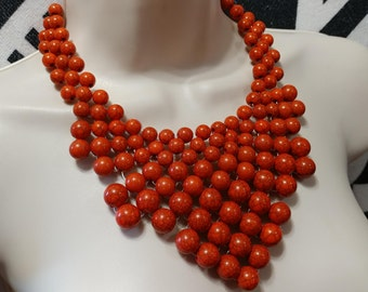 Vintage Woven Orange Turquoise Veined Lucite Bead Necklace Choker