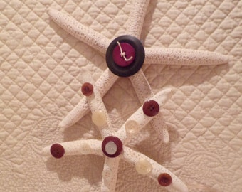 Starfish Ornaments Hand Crafted Vintage Buttons/ price now lowered