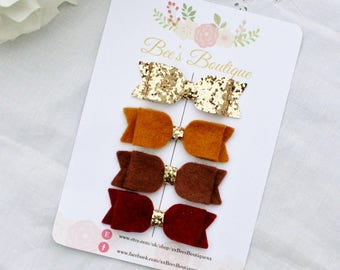 Autumn baby bow headband set gold glitter brown and burgundy - tiny bows - small bows - baby bows - stylish bows - autumn bows