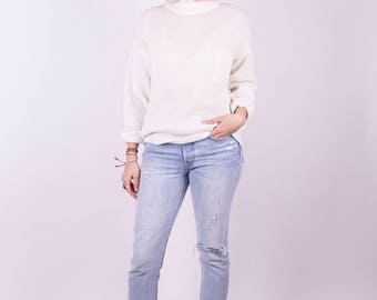 80s A'Milano Cream Mock Neck Chunky Sweater Loose Sweater Vintage Sweater Cozy Sweater Boho Sweater Oversized Sweater Vintage Clothing Sz: M