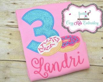 Birthday Shirt, Donut Shirt, Doughnut Shirt, girl Shirt, girls shirt, donut applique shirt, donut embroidery shirt