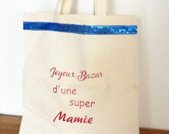Tote bag/tote bag happy mess of a Super Granny with blue sequins, customizable message choice Grandma gift