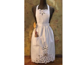 Victorian Style White Lace Protective Cooking Apron - One Size