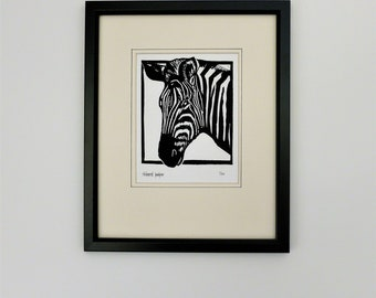 Zebra. Nature inspired limited edition linocut print
