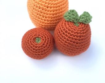 Crochet Pretend Orange, Grapefruit, or Clementine  | Crochet Fake Food Kitchen Toy | Knit Citrus Fruit