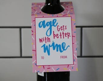 Wine Gift Tag | Birthday | Age Gets Better With Wine