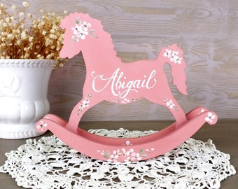 Rocking horse gift etsy personalized toy rocking horse decor baby girl nursery decor customized baby items personalized baby girl gift negle Image collections