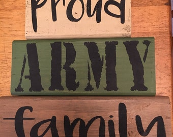 Proud Army Family Wooden Block Decor