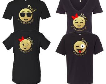 Emoji Birthday Girl Inspired Birthday Shirt For The Family Dad,Mom,Sister,Brother Gold Chrome Customize Your Own