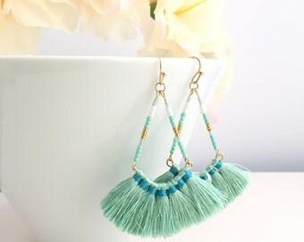 Fringe Earrings,Tassel Earrings,Drop Tassel Earrings,Fan Tassel Earrings,Dangle Earrings,Dangle Tassel Earrings,Boho Earrings,Fan Earrings