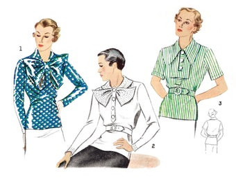 1930s 30s blouse // set of 3 styles // vintage sewing pattern reproduction // bow or chelsea collar // decorative stitching // bust 36