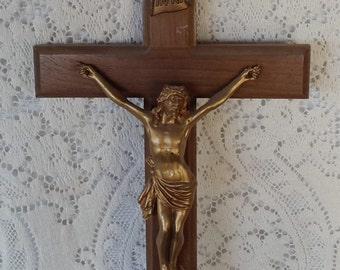 Vintage Wooden Crucifix and Brass Jesus