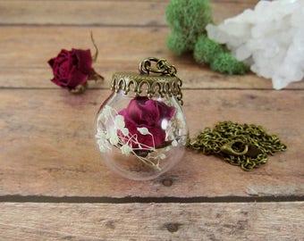 Real rose necklace, terrarium necklace, rosebud pendant, real flower jewelry, rose pendant