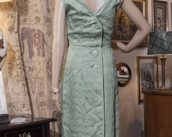 REDUCED! ELEGANT Mint Floral Jacquard Evening Gown w Diamante Buttons - Custom Made Size XXS/00