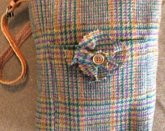 Brown-orange-green-purple wool plaid medium sized bag