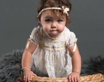 Louisa Baby Headband, Gold Silk Ribbon Baby Headband, Christening & Baptism Baby Headbands