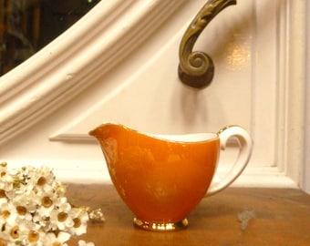 Elegant Porcelain Milk Jug. Orange & Gold Antique Milk Jug. Porcelain50's Creamer. Antique Milk Jug. Milk can. Retro Home.