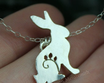 Sterling Silver Rabbit Necklace, Rabbit Jewelry, Rabbit Charm Necklace, Silver Bunny Necklace, Silver Bunny Pendant, Animal Necklace