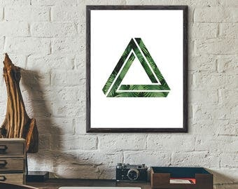 Triangle Print - Triangle Art - Triangle Print Art - Geometric Print Art - Minimalist Print - Green Triangle Wall Decor - Triangle Poster