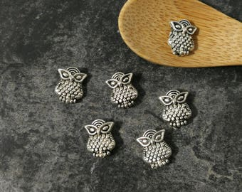Beads OWL beads Nugget, boho, silver, 10 x 8 mm