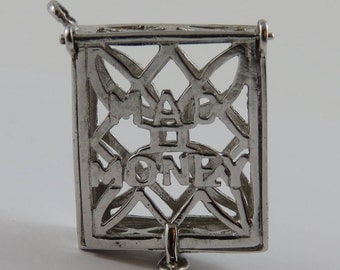 Mad Money Purse Mechanical Sterling Silver Vintage Charm For Bracelet