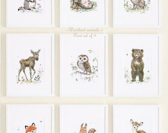 Woodland nursery decor Woodland Baby Animals Print Set Woodland Nursery Art Woodland Animal Prints  Bear Raccoon Bunny Deer Owl Fox