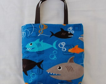 Fabric Gift Bag/ Party Favor Bag/ Goody Bag- Sharks on Blue