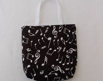 Fabric Gift Bag/ Party Favor Bag/ Goody Bag- Musical Notes on Black