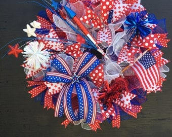 4th of july wreath, patriotic wreath, 4th of july decor, red white and blue wreath, USA wreath, USA soccer wreath, July 4th wreath, wreath