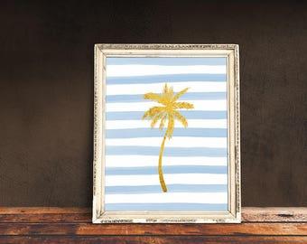 Palm Tree Print | Palm Tree Gold Foil, Palm Tree Art, Palm Tree Poster, Gold Foil Tree, Striped Botanical, Tropical Tree Art, Botanical Tree