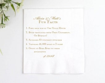 Fun Facts Personalized Wedding Napkins - Bridal Shower - Rehearsal Dinner - Engagement Party Napkins - Wedding Bar Napkins