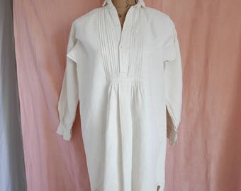 Antique FRENCH Linen NIGHTSHIRT, Linen Coverall or Smock, French Linen Chemise, Vintage Linen Shirt, 1900's.