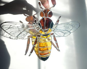 Stained Glass Honey Bee Suncatcher, Window Honey Bee Decoration