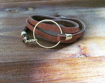 Women's leather wrap bracelet, leather circle bracelet, Boho bracelet, Wife jewelry gift, Birthday gift for her