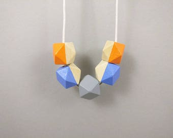 Geometric Necklace - Orange, Grey, Violet Blue   Statement Necklace   Gift for her   Geometric Jewellery   Beaded necklace   Geometric   Geo