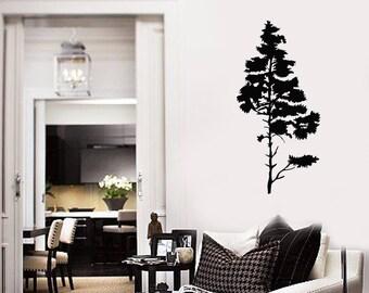 Pine Tree Vinyl Wall Decal Nature Room Art Decoration Home Decor Idea Stickers Mural (#2655di)