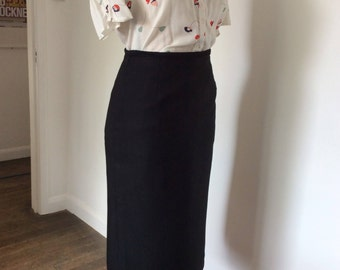 80s Vintage Skirt - Black Skirt - The Edinburgh Collection Made in Scotland - Pure Wool - UK Size 14 - Fitted Skirt - Pencil Skirt
