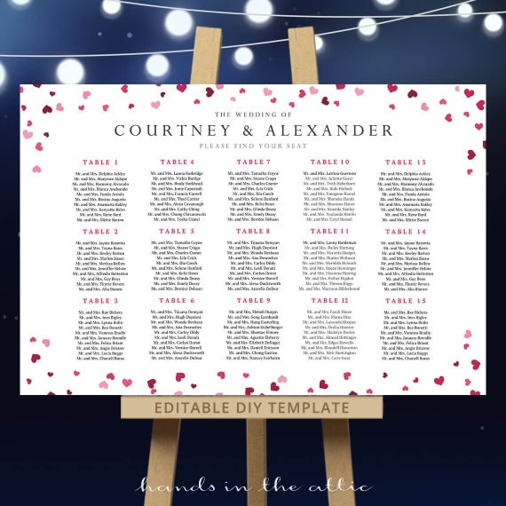 diy wedding seating chart template reception table plan pdf printable arrangements pink. Black Bedroom Furniture Sets. Home Design Ideas