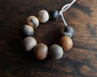 Ceramic beads; Unique smoke fired ceramic beads; artisan beads; primitive earthy