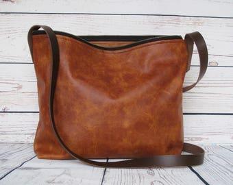 Tan leather shoulder bag, leather bag, shoulder bag, crossbody bag, leather handbag, leather purse, hobo crossbody