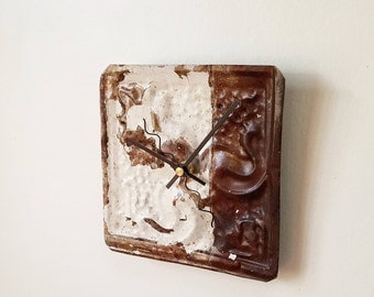 "coffee and cream -Industrial salvaged and repurposed ceiling tin tile clock home decor  6""X6"""