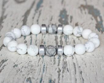 mens white beads bracelet Gemstone howlite men's fashion guys jewelry boyfriend gift for him Stone man birthday protection amulet groomsmen